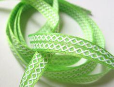 """""""Twist of Lime"""" Ribbon Shoelaces - ♥ Buy Your Shoelaces Online the Easy Way ♥- Over 15,000 Shoelace Designs Available - You Choose the Length - You Choose the Tips - You Get Just What You Want"""