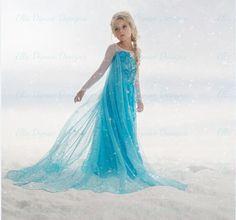 high quality new 2015 frozen elsa anna princess dresses children girls snow queen cosplay masquerade dress fancy costume