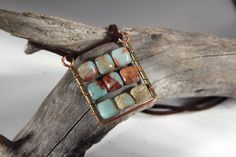 Mosaic square boho pendant. What is boho? Ruffles, lace, Victorian hats? Its all about nature... At least that what this pendant makes me feel. It was