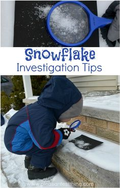 It's been snowing a lot recently, so we've been playing with snow a lot! And all this snow led to talking about snowflakes, so we wanted to get a close look.