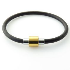 """Modern Silver and Gold Cylinder Magnetic Clasp with a 4mm Black Leather Cord Bracelet - 7"""""""