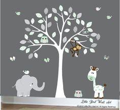 White tree wall decal nursery tree wall by Littlebirdwalldecals
