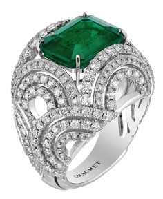 "Chaumet ring from ""Lumières de l'eau"" collection 2014 ~ White gold set with diamonds and an emerald cut - emerald from Colombia of 5.11 carats http://gorgeousgemsandjewelry.com/"