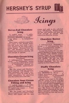 VintageChocolate Cream Icing (Uncooked) 2 tablespoonfuls HERSHEY'S Syrup . - VintageChocolate Cream Icing (Uncooked) 2 tablespoonfuls HERSHEY'S Syrup . Retro Recipes, Old Recipes, Vintage Recipes, Cake Recipes, Dessert Recipes, Cooking Recipes, Icing Recipes, Recipies, Family Recipes