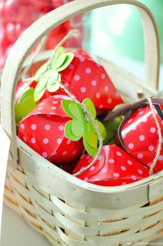 Cute strawberry boxes. Berry Sweet Strawberry Valentine's Day Party with FREE printables! By Kara's Party Ideas for Canon.