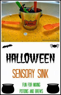 Halloween Sensory Sink- fun hands on play for kids