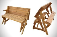 Foldable Picnic Table Turns Into A Garden Bench | Inthralld