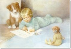 Gutmann, Bessie Pease - Bessie Pease Gutmann - Drawing and Spelling with Friends a Puppy and Doll Painting Jessie Willcox Smith, Bessie Pease Gutmann, Boy Drawing, Boy Illustration, Retro Kids, Doll Painting, American Artists, Vintage Children, Vintage Art