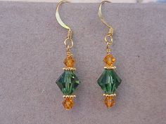 9dc1e4b63 Green Bay PACKERS Swarovski Crystal Earrings by Magicclosetbling Go Packers,  Greenbay Packers, Gold Plated