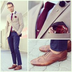 Blue, burgundy and brown | He's got style!