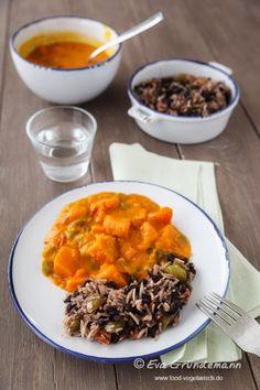 Pumpkin Curry with beans and rice | Kürbis Curry mit Reis u Bohnen | food-vegetarisch.de