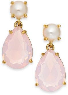 kate spade new york Gold-Tone Faux Pearl and Pink Teardrop Stone Earrings