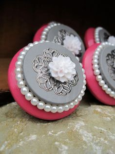 Shabby Chic dresser drawer knob in Hot pink and Grey with White Pearls and flower SET of 6. $39.00, via Etsy.