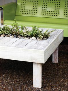15 fabulous DIY patio projects, I really   love the herb pallet table, wine crate garden & the other pallet container   garden. All look fun, oh-the tin can garden hanging from fence, I would do it in   galvanized buckets & hang them from the backs of patio chairs, and then   something like an old door or garden panel.    Planted Patio   Table
