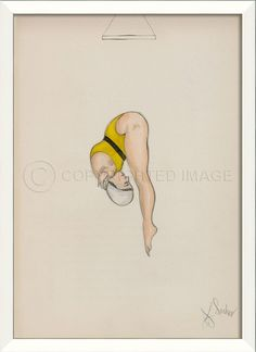 A hand-crafted white frame encompasses this coastal art piece of a Yellow Diver as she assumes a pike position in perfect diving form. Framed Wall Art, Seaside Decor, Beach Artwork, Coastal Art, Modern Artwork, Art Prints, Vintage, Swimsuit