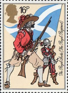 British Army Uniforms 16p Stamp (1983) Musketeer and Pikeman, The Royal Scotts (1633)