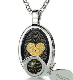 Love Necklace Inscribed with I Love You in 120 Languages in 24k Gold on Onyx Pendant, 18' - NanoStyle Jewelry -- Wow! I love this. Check it out now! : Jewelry Trends