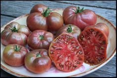 "Cherokee Purple Tomato, a dense Native American heirloom variety with smooth skin, rosy flesh, and funky green ""shoulders."" The taste is often described as rich, dark, and sweet."