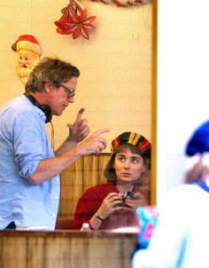 "Director Todd Haynes and Rooney Mara on the set of ""Carol"".   Photo by Nick Daggy."
