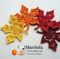 crochet maple autumn leaf