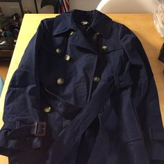 J Crew cotton short trench Light bavy blue with brown details (leather/buttons). Only wore once. Fits well. J.Crew Factory Jackets & Coats Pea Coats