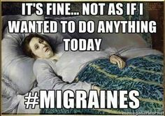 Chronic fatigue syndrome and fibromyalgia often have very similar treatments due to the fact that these two syndromes share a lot of common characteristics. If you are a chronic fatigue syndrome or fibromyalgia patient, the treatments Migraine Meme, Migraine Quotes, Migraine Pain, Chronic Migraines, Migraine Relief, Chronic Fatigue, Chronic Pain, Chronic Illness, Headache Humor