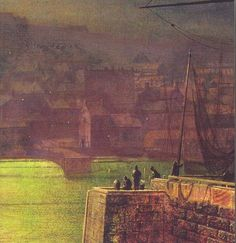 Whitby Harbour, moonlight, (detail) by John Atkinson Grimshaw, British, 1836-1893.  Selected as the cover illustration for Elizabeth Gaskell's novel Silvia's Lovers in the Oxford World's Classics edition.