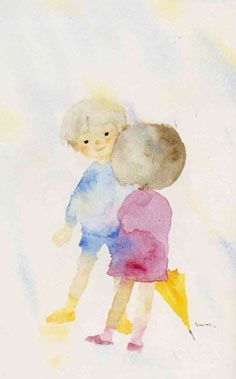 Water color painting by Chihiro Iwasaki, Japanese female artist Japan Watercolor, Watercolor Drawing, Watercolor Illustration, Painting & Drawing, Watercolor Paintings, Japanese Artists, Japanese Female, Art Fantaisiste, Japanese Calligraphy