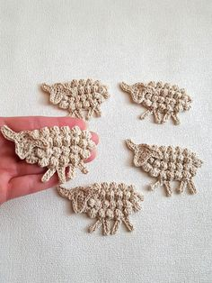Hand crocheted sheep applique to use in your craft projects. Lovely animal themed ornament for your decorations. The price is for a bulk of 4 (four) pieces. Please select your desired quantity of bulks. Send me a convo for a wholesale discounted price.  Handmade applique using high quality Egyptian cotton yarn in beautiful colors.Please refer to the last photo and choose your favorite between 24 available colors of the Egyptian cotton yarn. You can order these cuties in your favorite color…