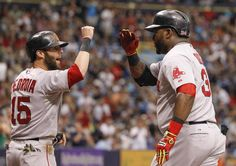 David Ortiz was congratulated by Dustin Pedroia after hitting a three-run homer in the third inning.