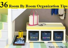 In the Mudroom: Make It Welcoming - Use shelves or cubbies with fun labeled bins or cloth-lined baskets to add storage while creating a smooth and attractive transition into the house. {Love this under the stairs space! Organisation Hacks, Small Space Organization, Room Organization, Stair Storage, Bench Storage, Storage Ideas, Storage Baskets, Bag Storage, Under Stairs
