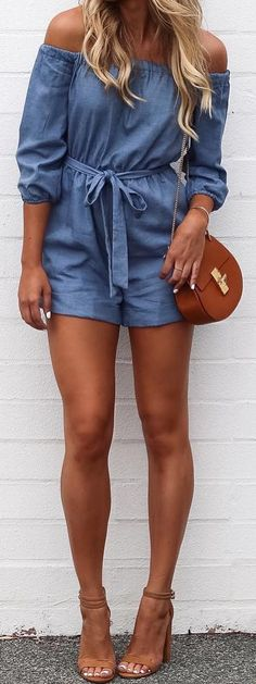 A cool denim OTS playsuit with a front tie & medium length shorts--great with lace-up espadrilles or flat sandals