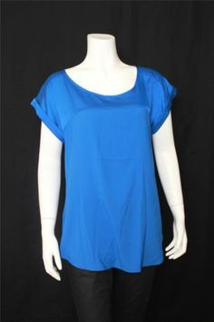 New Express Blue Scoop Neck Short Sleeves Top Size M
