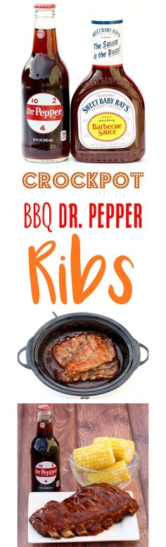 This Dr. Pepper BBQ Pork Ribs Recipe makes fall-off-the-bone amazing ribs! No one will believe how ridiculously easy these ribs are to make. Slow Cooker Desserts, Slow Cooker Recipes, Crockpot Recipes, Cooking Recipes, Drink Recipes, Smoker Recipes, Appetizer Recipes, Crockpot Dishes, Crock Pot Slow Cooker