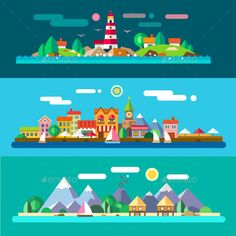 Vector Flat Landscapes by the Sea - Landscapes Nature