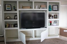 Living Room Renovation With DIY Entertainment Center for Flat Screen TV - Remodelaholic | Remodelaholic