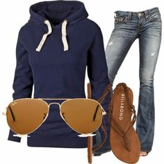 Casual Outfit With Blue Hoodie and Ray bans