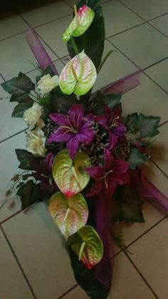 Casket Flowers, Altar Flowers, Church Flowers, Funeral Flowers, Unique Flowers, Tropical Wedding Bouquets, Flower Bouquet Wedding, Diy Wedding Flowers, Ikebana Flower Arrangement