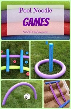 Fun, Easy, DIY Pool Noodle Games- no water needed! Repurpose these thrifty finds for fun games for kiddos.