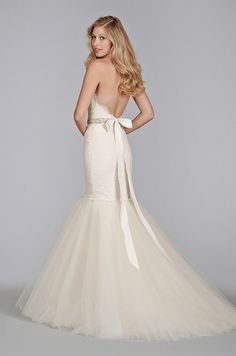 Strapless mermaid wedding dress with beaded belt and full tulle skirt. Tara Keely, Spring 2014