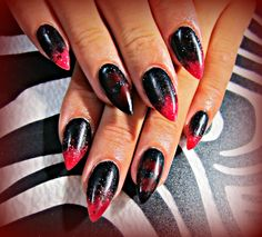 Black and red acrylic nails