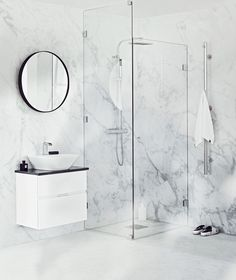 Here you will find a lot of inspiration for your new bathroom. Browse through the pictures to find the bathroom design which matches your personal style! Countertop Basin, Countertops, Bathroom Furniture, Bathroom Interior, Corner Sink, Mirror Cabinets, Bathroom Cabinets, Cabinets For Sale, Round Mirrors
