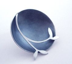 Round brooch with leaf detail | Contemporary Brooches by contemporary jewellery designer Kate Smith