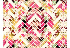 Cozamia, Wild Herringbone Pink  by nancy ramirez; herringbone pattern w/ loose floral designs visible underneath. work derived from an original acrylic painting on canvas and then further developed digitally.