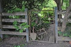recycled garden gate made from reclaimed garden tools rustic primitive recycled garden gate made fro Old Garden Gates, Old Garden Tools, Cedar Garden, Garden Soil, Wooden Garden, Garden Art, Garden Landscaping, Garden Design, Garden Junk