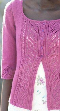 Розовый жакет спицами