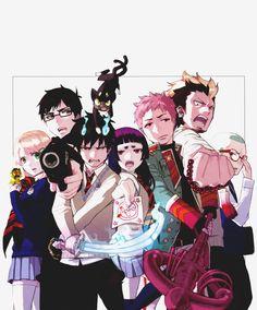 Blue Exorcist - Rin, Shiemi, Shima, Izumo, Bon,  Yukio, Koneko, Kuro,