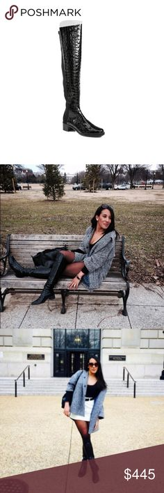 """Stuart Weitzman croc embossed thigh high boots Stuart Weitzman  Black Reserve Crocodile Print Patent Leather  -Thigh High Boots -Pull-On Style  -Stacked Heel 1"""" -Rubber Sole   IN GREAT CONDITION Stuart Weitzman Shoes Over the Knee Boots"""