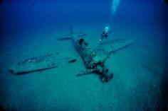 Wreck of Japanese Zero, Rabaul, Papua, New Guinea