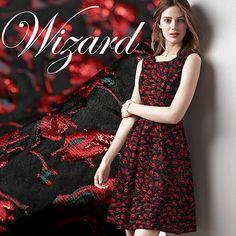 Red Rose Style Jacquard tissu robe jupe robe tissu brocart - 140 cm de large x…